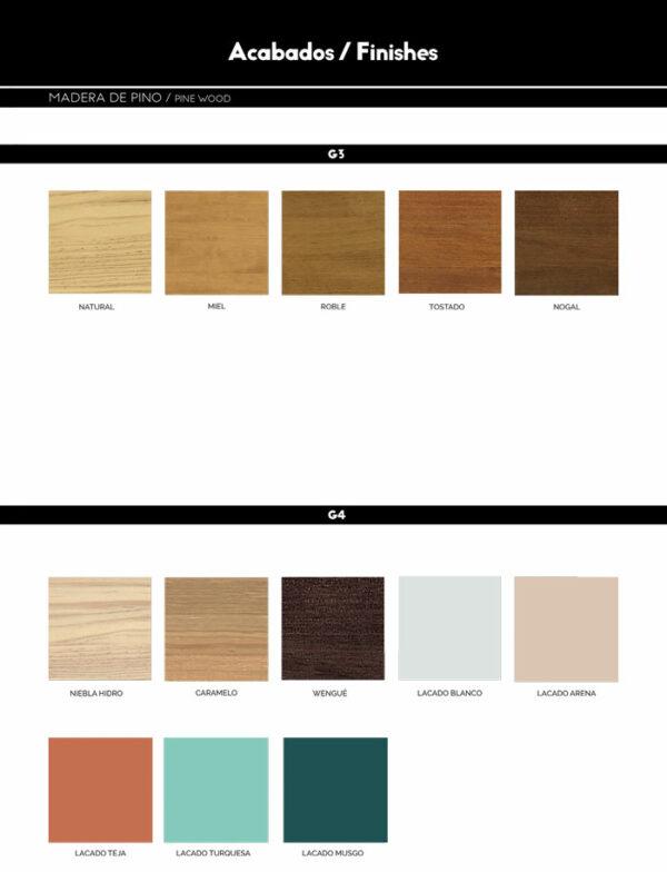 Colores madera de pino
